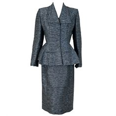 Fantastic peplum suit.  Perfect, vintage, current.  It is all that. 1940's Lilli-Ann Charcoal Gray Rhinestone Silk Wiggle Dress Suit