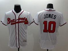 Men's Atlanta Braves #10 Chipper Jones Retired White 2016 Flexbase Majestic Baseball Jersey