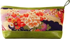 #SephoraColorWash     Love this Green Kimono Cosmetic Bag by Cris Notti. It's made out of authentic, hand-printed Japanese kimono fabric and has faux snake skin trim.