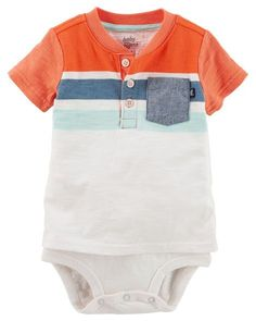 Baby Boy Double-Decker Striped Pocket Henley Bodysuit from Carters.com. Shop clothing & accessories from a trusted name in kids, toddlers, and baby clothes.