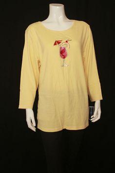 New Karen Scott Yellow Scoop Neck Long Sleeves Top Plus Size 1X, 2X