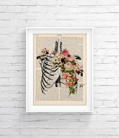 Upcycled Page book Print Vintage Illustration Print - Skeleton - Wall decor Decorative Art Book Page Retro Poster Vintage Book print 032 - pinned by pin4etsy.com