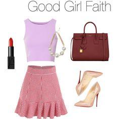 Good Girl Faith by christinacicilia on Polyvore featuring polyvore fashion style Glamorous Christian Louboutin Yves Saint Laurent Warehouse NARS Cosmetics