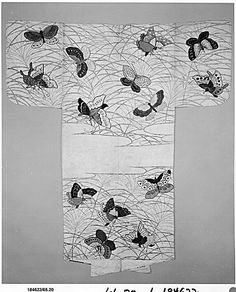 Noh robe (Nuihaku) with Design of Butterflies and Miscanthus Grass in Mist.  Period: Edo period (1615–1868). Date: 17th century. Culture: Japan. Medium: Robe: gold and silver leaf on silk satin damask; butterflies: silk embroidery on plain-weave silk. Dimensions: Overall: 66 1/4 x 53 5/8 in. (168.3 x 136.2 cm).
