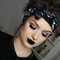 Black lipstick + winged eyeliner
