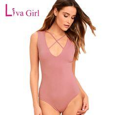 baff9b7ce168 Liva Girl Women Summer Black Crisscross Front and Back Plunge V Neck  Bodysuit Tank Sleeveless Sexy Bodysuits Bodys Para Mujeres