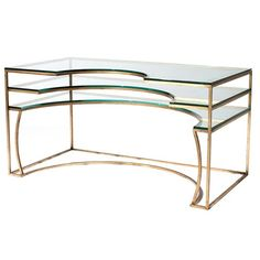 Concentric Desk Contemporary, Glass, Metal, Desks Writing Table by Codor Design Modern Dresser, Modern Desk, Modern Table, Modern Art, Floating Drawer, Art Deco Desk, Glass Side Tables, Glass Table, Contemporary Desk