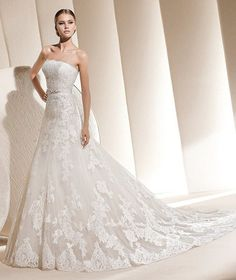 A-Line Tube Long Organza Wedding Dress with lace