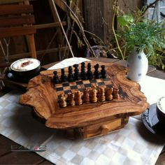 Olive wood chess board/set  game inclusive by Premiumolivewood