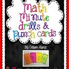 Math Punch Cards with Drills for numbers 0-12 for addition, subtraction, multiplication, and division. There are also 3 mixed reviews included for each operation.