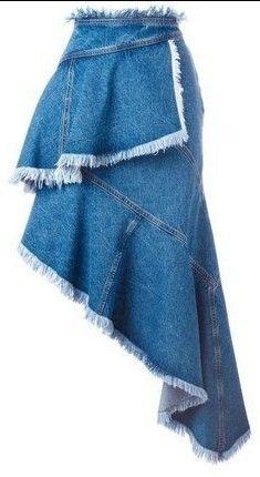Ladies denim skirt edge fraying and stone washed. Denim Fashion, Skirt Fashion, Fashion Dresses, Estilo Jeans, Jupe Short, Diy Jeans, Vetement Fashion, Denim Ideas, Fashion Clothes