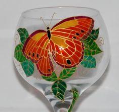 copa de vidrio pintada a mano.