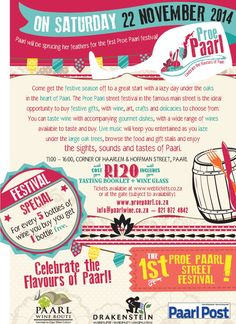 """PROE PAARL"" Festival 22 November, Wine Festival, Festivals, Events, Street, Day, Concerts, Walkway, Festival Party"