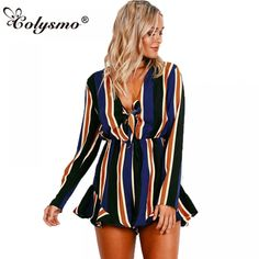 e2d255dbe4b Colysmo New Woman Sexy Loose Fit Deep V Neck Front Knot Ruffled Stripe  Romper Playsuit Jumpsuit