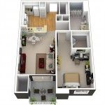 3d Small House Plans Under 1000 sq ft with Loft and One Bedroom 2014