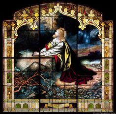 """""""Prayer at the Garden of Olives"""" Religious Stained Glass Window"""