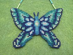 Collar de Morpho azul. Espíritu Animal por HANWImedicineArt en Etsy