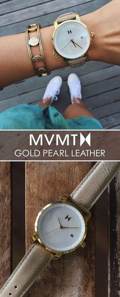 We believe style should be inspired by creative spirit and the freedom to express yourself. The MVMT Watches initiative is to offer classic minimalist designs with a twist of elegant chic flavor, all at a revolutionary price.  This Gold Pearl Leather watch would make a great addition to your accessory collection for just $115. Let your style make a statement! Click the buy button to get it now!