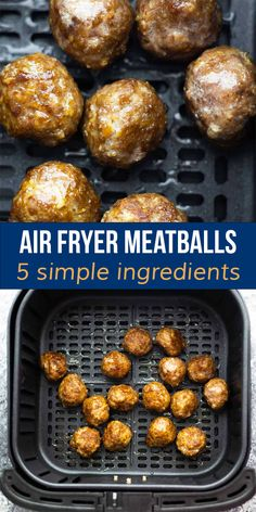 Air fryer meatballs are crisp and browned on the outside, and so juicy on the inside! Cook them up from fresh or frozen in minutes. Great for meal prep! #airfryer #meatballs #sweetpeasandsaffron Slow Cooker Freezer Meals, Slow Cooker Recipes, Air Fryer Fries, Chicken Marinades, 30 Minute Meals, Air Fryer Recipes, Meal Prep, Crisp, Dinner Recipes