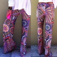 High Waisted Palazzo Pants Cute Spandex/loose fit High waist Multi-color Size XL