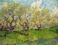 """Orchard in Blossom, 1888 Vincent van Gogh...Vincent wrote Theo, """"...this craze for painting orchards will not last forever."""" Only as long, obviously, as the blossom."""