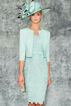 Ronald Joyce 991102 02 stunning fitted dress matching jacket sits edge to edge with a rounded collar and length sleeves in Aqua and Pale Blue. Mother Of Bride Outfits, Mother Of Groom Dresses, Mothers Dresses, Mother Of The Bride, Bride Groom Dress, Mob Dresses, Formal Dresses, Bride Dresses, Elegant Dresses