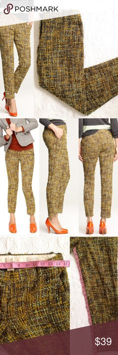 "J. Crew Cafe Capri in Harvest Tweed - J. Crew Cafe Capri  - Harvest Tweed - J.Crew described the Pants as ""fabulous technicolor tweed"" - Measurement in photos. - Textured material with full inside lining. - Preloved. No rips or stain. Some piling. - Top hook/bar closure has come loose but can still hook through. The bottom hook/bar is secured as well as the inside button closure. - Effortlessly chic, a style staple for your basic wardrobe, casual chic. Boho style.  - No Trades. Stock photo…"