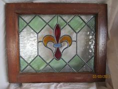 Antiques > Architectural & Garden > Stained Glass Windows > 1900-1940 Vintage English Stained / Leaded Glass Window - Fleur-de-lis Design