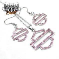 Women's Crystal Harley Biker Pendant and Earrings Set Jewelry (Includes the Chain)
