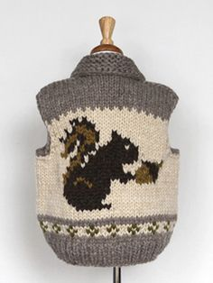 i want this for my cat Cowichan Sweater, Types Of Patterns, Knitting Projects, A Table, Squirrel, Little Ones, Hand Knitting, Boy Outfits, Knit Crochet