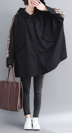 top quality black cotton coat for woman plussize hooded medium length jackets patchwork jacket Iranian Women Fashion, Pakistani Fashion Casual, Muslim Fashion, Korean Fashion, Mode Kpop, Stylish Dresses For Girls, Stylish Coat, Mode Hijab, Aesthetic Clothes