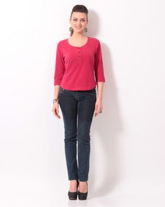 Red Henley Neck Tee redblackWTEE1011025 Western Outfits, Western Wear, Western Apparel, Tee Shirts, Tees, Fashion Online, Capri Pants, How To Wear, Stuff To Buy