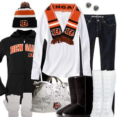 Bundle up for the big game in Cincinnati Bengals winter fashion. Keep warm in layers with a cardinals hoodie, a beanie, a scarf, and cute and comfy winter boots. Football Gear, Football Baby, Football Season, Sport Outfits, Cool Outfits, Mommy Style, Cincinnati Bengals, Yoga Tops, Fashion Gallery