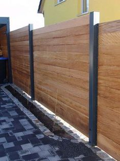 Vorgarten Zaun privacy-wood-metal-carport-extension-larch-height-gray-white privacy-frame-wood-metal-carport-extension-larch-height-gray-white-out-of-. Wood Fence Design, Privacy Fence Designs, Privacy Landscaping, Diy Fence, Backyard Fences, Metal Carports, Timber Fencing, Wood Fences, Fence Styles