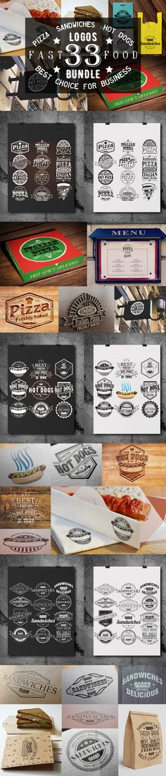 That's 33 vector logo templates that you can use for branding projects, labels, typography and more. If you are looking for a elegant logo, a badge or a simple typography logo for business then this is the set you need! #design Download: https://creativemarket.com/SiberianArt/369498-33-PizzaSandwiches-and-Hot-Dog-logo?u=ksioks