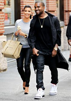 Kim & Kanye both wearing leather pants (shop perfect leather garments at www.bluegold.nl)