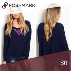 """NWT Navy blue sweater Navy blue sweater with pink studs attached ✅ 55% cotton 40% polyester 5% spandex ✅ 24"""" length ✅ Very cozy and comfy ✅ Stretchy ✅ Item is brand new and comes with manufacturers tags ✅ Price is firm unless bundled Sweaters V-Necks"""