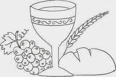 desenho de calice com uvas, trigo e pão - simbolos eucaristicos para pintar