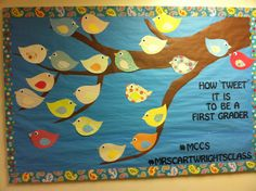 Back to school bulletin board! #twitter #birds Different words but same idea, excited to do a twitter themed board.