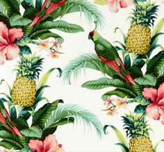 Beach Bounty Lush Green Outdoor Fabric By Tommy Bahama.  This a beautiful tropical outdoor fabric - great feature, fun, vibrant, refreshing, makes us feel like we are on holidays...