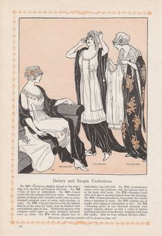 1913 Fashion Print: Dainty and Simply Underdress Gowns 3 Three Women