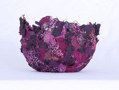 Grapes fabric bowl delicate round 4 x 3 plum and purple by Textility. Wine colored and delicate, this unique bowl is made from recycled materials.