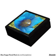 Blue Poppy Floral Photo Jewelry Box