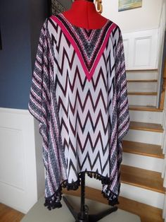 b01d70c6a8006 Chiffon Batwing Tunic Blouse Beach Cover-up CATHERINES Plus Size 2X 3X  Fringe