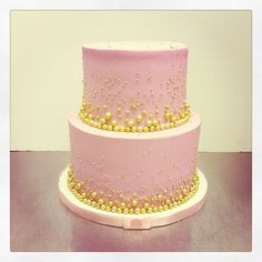 Pink and Gold Cake | ... cupcake cake. It's all made from buttercream and serves 12 adults
