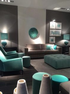 36 Most Popular Living Room Colors Ideas - Inspiration to Beautify Your Living Room Living Room Color Scheme Ideas Can Help You to Create A Living Room Turquoise, Teal Living Rooms, Beautiful Living Rooms, Home Living Room, Living Room Furniture, Living Room Decor, Decor Room, Rustic Furniture, Modern Furniture