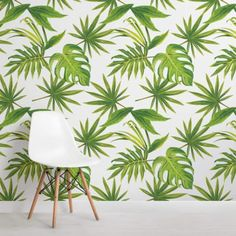 Tropical Leaves Print Wallpaper WallpaperTropical LEAVESLeaf PrintsHouse IdeasNurseryWallpapersPrintingWall MuralsBEDROOM DECORWallpaper