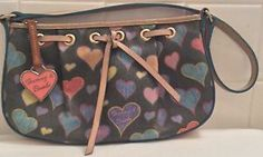 Dooney & Bourke Colorful Pink Heart Tag Handbag Pebbled Leather Purse Authentic!   eBay