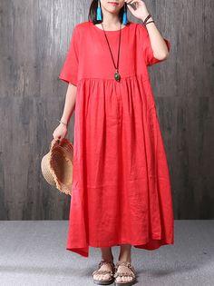 cdaf3de63f Cheap best O-NEWE Elegant Loose Pure Color Dresses Maxi Dresses For Women  on Newchic