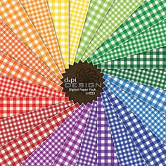 GINGHAM - Digital Scrapbook Paper - Classic Picnic Plaid Backgrounds in a rainbow of colors Tartan, Plaid, Digital Scrapbook Paper, Digital Papers, Rainbow Connection, Gingham Fabric, Over The Rainbow, Couture, Rainbow Colors